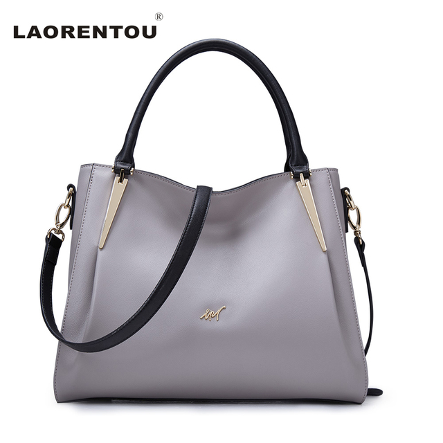 LAORENTOU Brand Soft Cowhide Leather Bags For Women Shoulder Bag Red Grey Cow Leather Women's Handbag Fashion Crossbody Bags N5