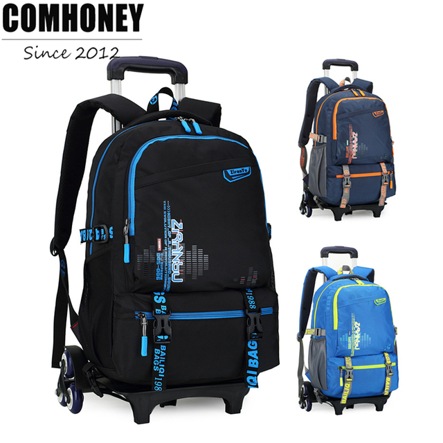 Children Rolling School Backpacks 2/6 Wheels Boys Girls Trolley ...