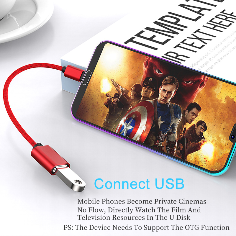 OTG Type C USB Cable Adapter For Xiaomi Redmi Note 7 Samsung S8 S9 Tablet Charging Connector USB 2 0 OTG Usb C Type C Adaptador in Phone Adapters Converters from Cellphones Telecommunications