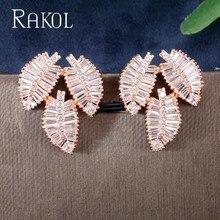 RAKOL Fashion AAA Cubic Zirconia Leaf Shaped T Stone Stud Earrings Women's Jewelry Accessories серьги висячие e1269 aaa stone jewelry