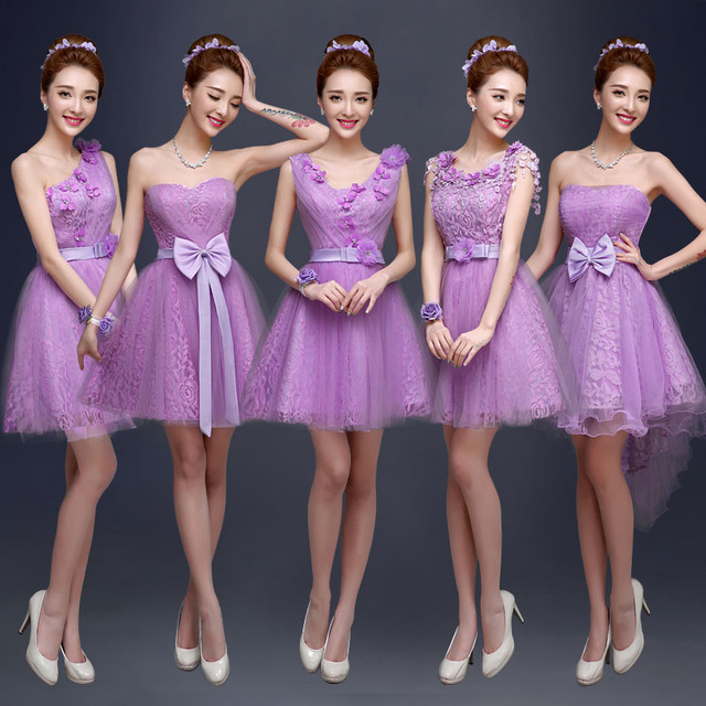 2015 spring summer brand great nice flower lace short bridesmaid formal  dresses lady sister wedding banquet purple super dress 4490cccfd5b2