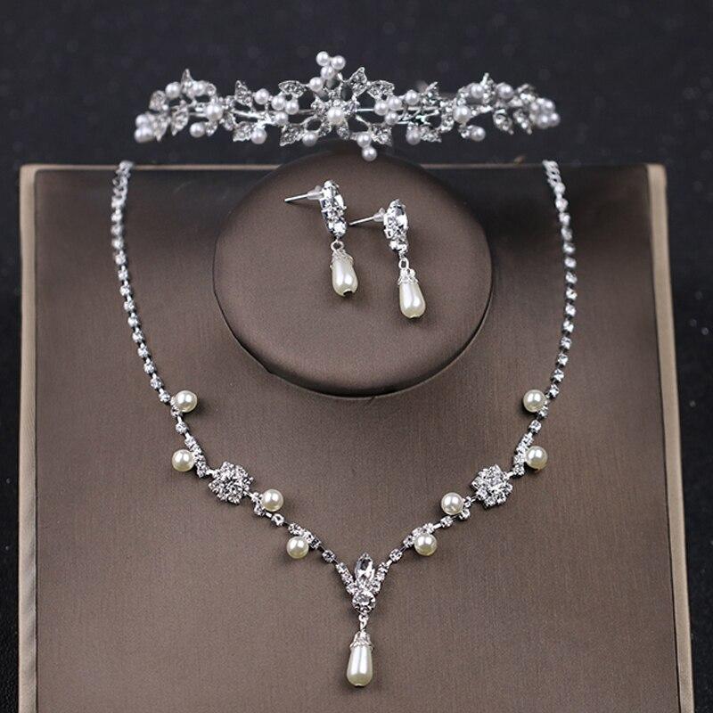 Begeistert Mode Bunte Blume Schmuck Sets Silber Kristall Halskette Ohrringe Set Strass Frauen Hochzeit Braut Zubehör Ornamente