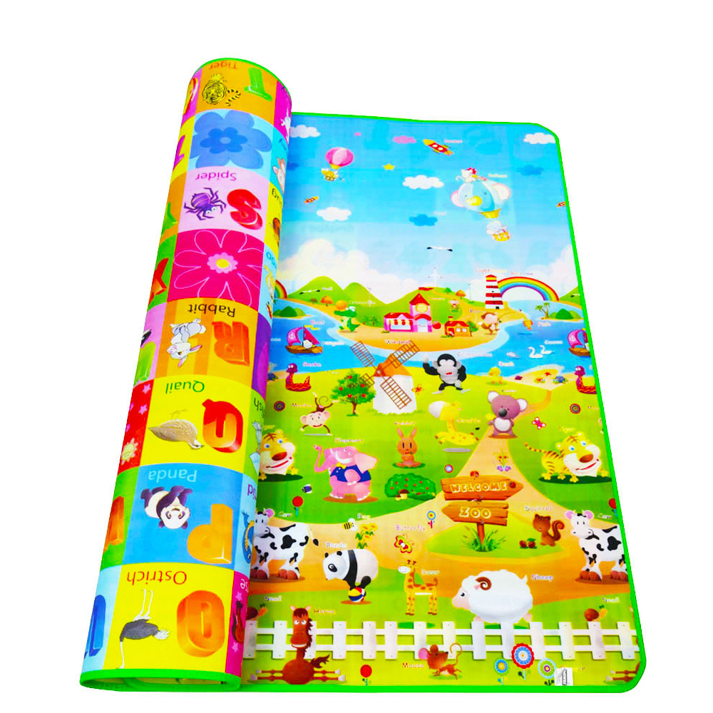 200*180cm Baby Crawling Mat Baby Play Mat Fruit Letters Farm Baby Carpet Developing Mat for Children Baby Cushion Toy Game Pad