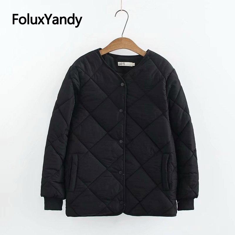 Thin Basic   Parkas   Women Coat Plus Size Casual Short Style Long Sleeve V-neck Winter Jacket Outerwear KKFY3022