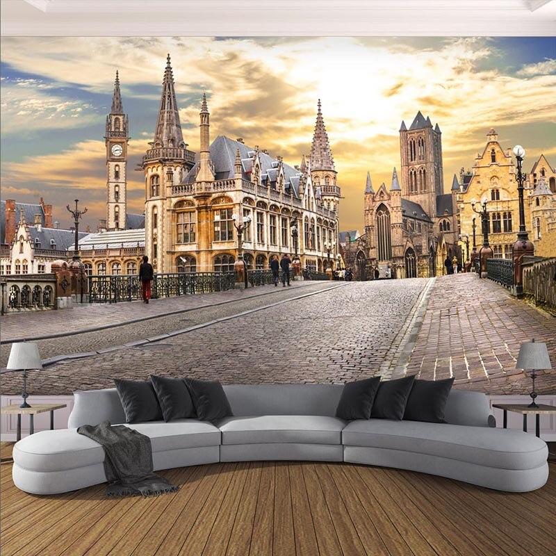 Фото обои на заказ 3D настенные фрески Европейский город здание пейзаж настенная бумага гостиная кафе креативный Декор Papel росписи 3D