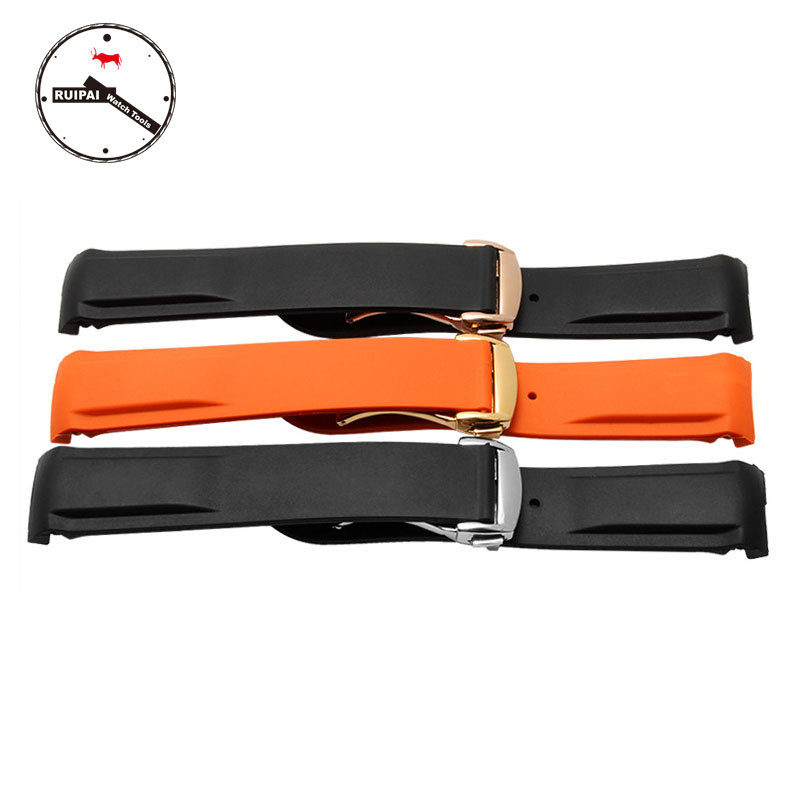 Replacement Watchband Orange / Black 22mm/20mm Rubber Watch Strap with Folding bracelets for Planet Ocean Series Watch black silicone rubber watchband curved end for special watches sport style watch strap 22mm for replacement bracelets promotion