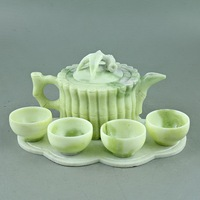 China Lantian jade carved jade bamboo bamboo bundle teapot teapot four cups of tea Kung Fu