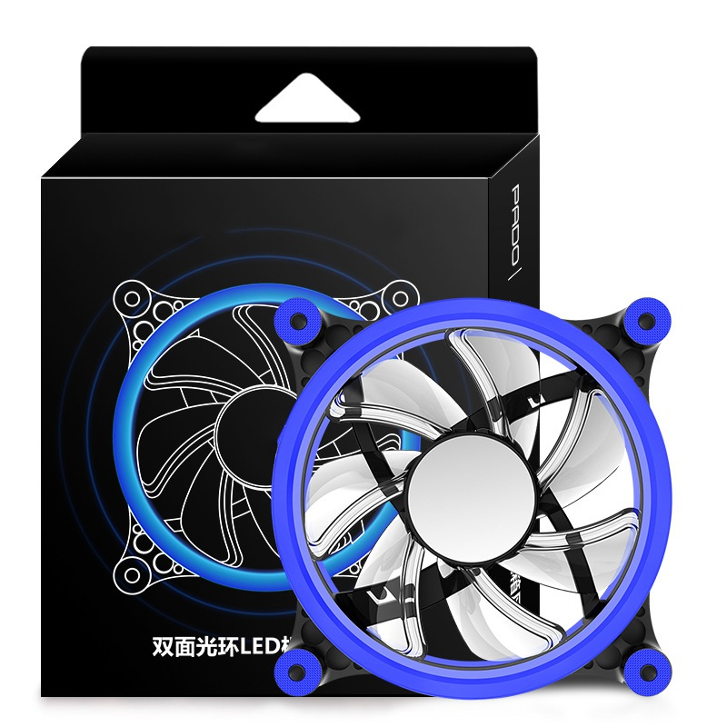 Professional 120mm LED Computer Fan Water Cooler 3 Pin 1200RPM Fan Cool Glare Red Blue G ...