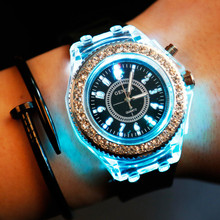 все цены на Male And Female Students Luminous Personality Rhinestone Watch Fashion Trend Harajuku Style Watch Couple Jelly Quartz Watch