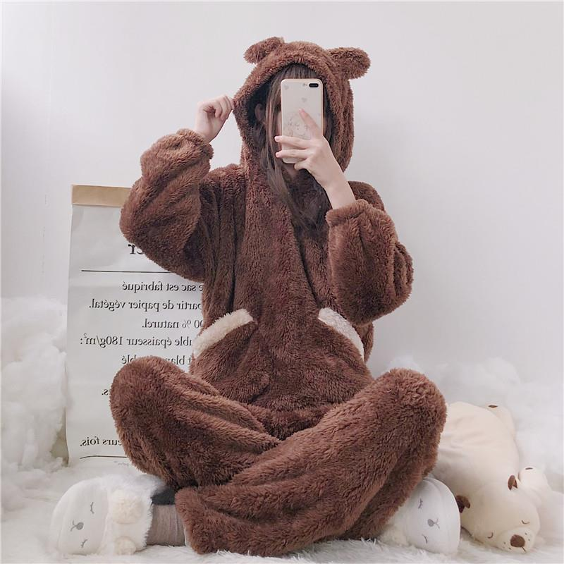 Cute   Pajama     Sets   Women Autumn Winter Soft Home Service Cute Ears Hooded Loose Plush   Pajamas   Suit Female Sweet Suits