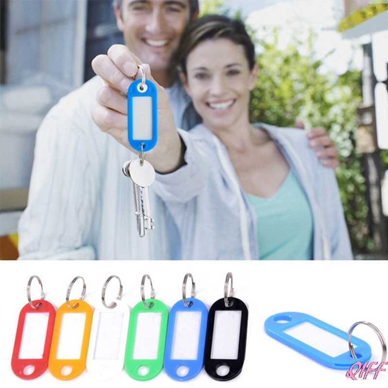 Lot Of 10 Plastic Keychain Key Split Ring ID Tags Name Card Label Language