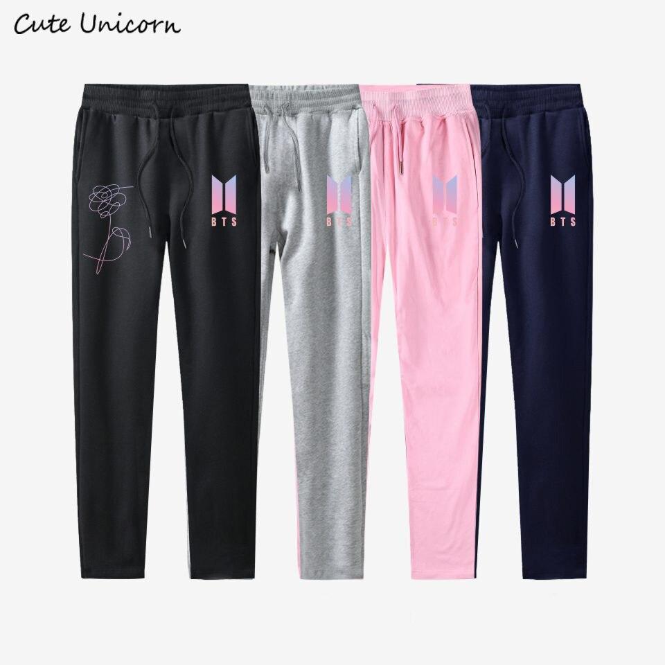 BTS pants Kpop 100% cotton men women slim fit Trousers casual Sweatpants Mid Waist Jogger Pants plus size Pantalon Femme