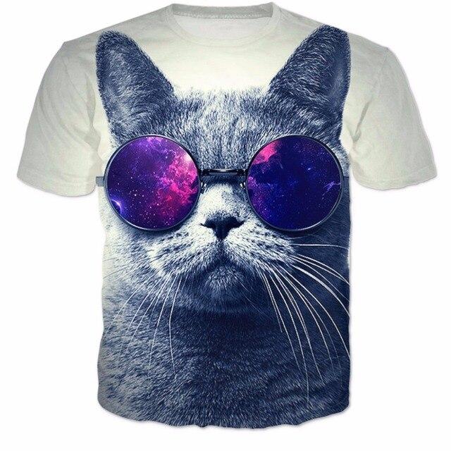366bfec39610d Gato com óculos espaciais T-shirt Das Mulheres Dos Homens 3D Harajuku Verão  tshirt estilo