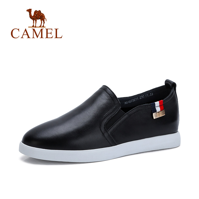 Camel White Shoes 2018 New Women's Shoes Flat Leather Casual Slip-on Loafers Shoes Antiskid Breathable Shave Leather A81879611 2017 new spring imported leather men s shoes white eather shoes breathable sneaker fashion men casual shoes