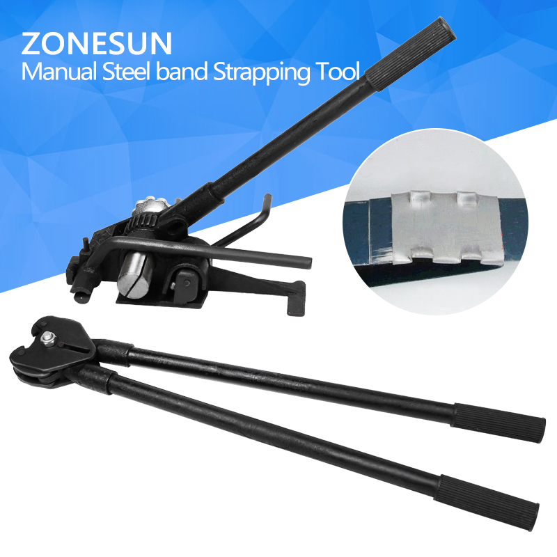 ZONESUN HM-98 Strapping Packing Machine Heavy Duty Manual Steel Strip Strapping Tools Steel Sealers For 32mm Steel strip zonesun a333 strapping machine manual seallesspp steel straing packing tool steel strapping bander metal strip machinefor13 19mm