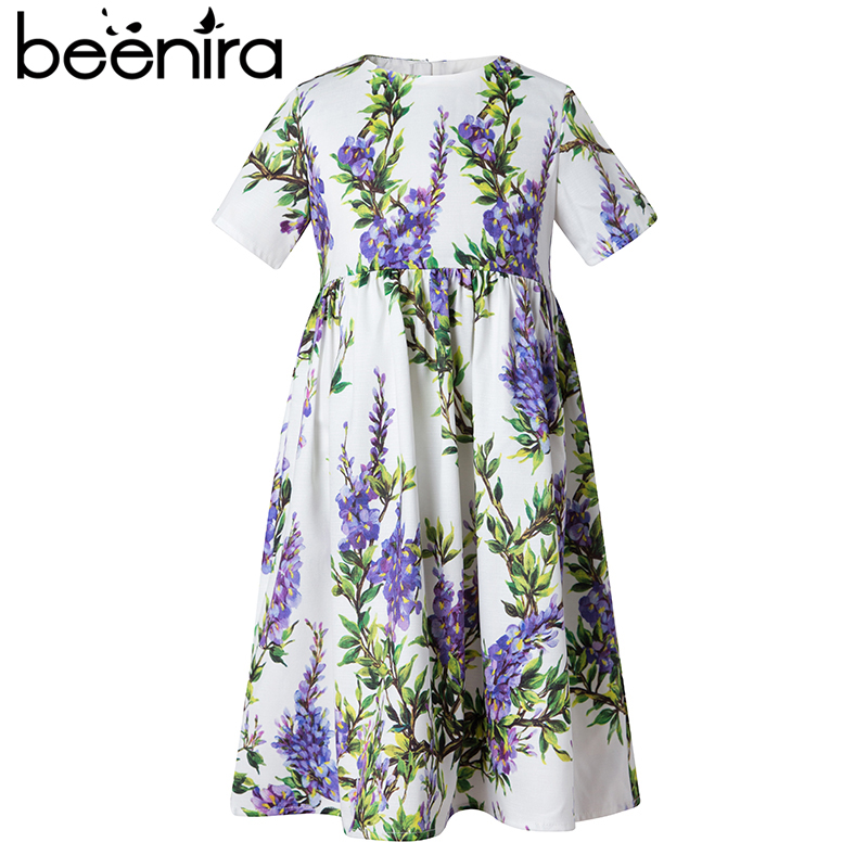 Beenira Princess Girl Party Dress 2017 Brand Dresses Lavender Printed Kids Dress for Girls Clothes European and American Style