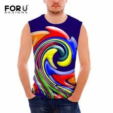 FORUDESIGNS 3D Colorful Paisley Pattern Men Tank Tops 2017 New Fashion Summer Sleeveless Top Shirt for Male Bodybuilding Vests