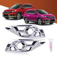 CITALL 2 cái Bạc ABS Chrome Đèn Sương Mù Nhẹ Bezel Trim Che fit đối với Honda CR-V 2012 2013 2014