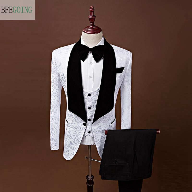 White Regular Bridegroom Tuxedos Single Breasted Groom Suit Vest Pants Tie For Wedding Evening Party