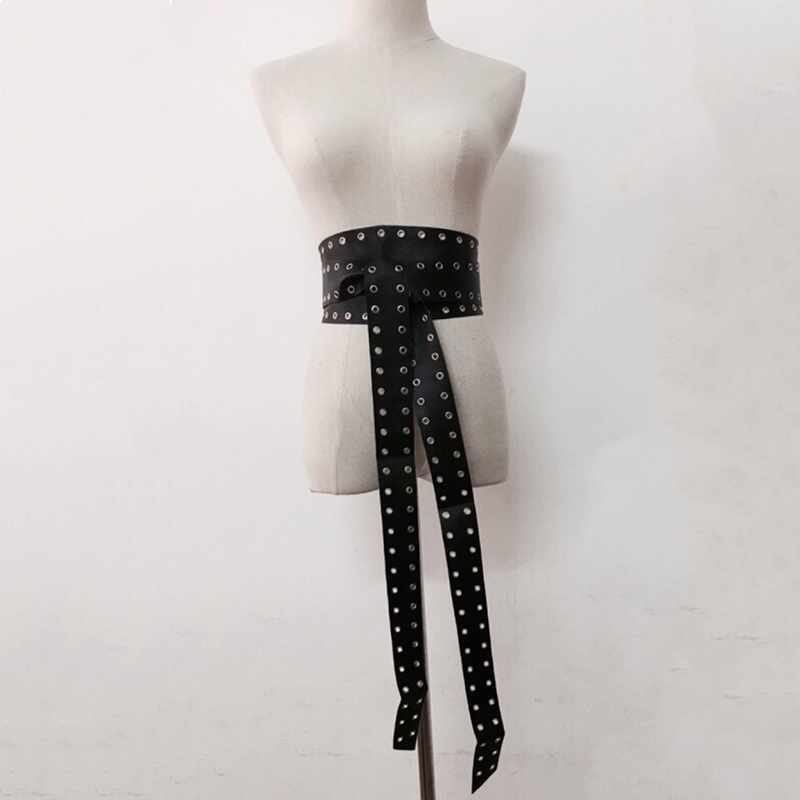 Korea Faux Leather Ultra Wide Rivet Perforated Cummerbunds Strap Waist Girdle Black Belt Black White Apricot Belts Accessories