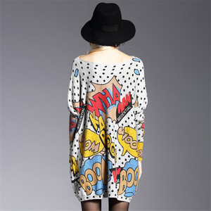 Image 4 - XIKOI Oversized Fashion Women Long Sweaters Shirt Slash Neck Batwing Sleeve Print Pullovers Clothing Female Loose Casual Sweater