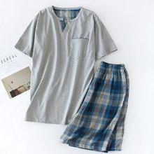 Pajamas Men Summer Short Sleeve Shorts Pajama Sets Pure Cotton Pijama Man