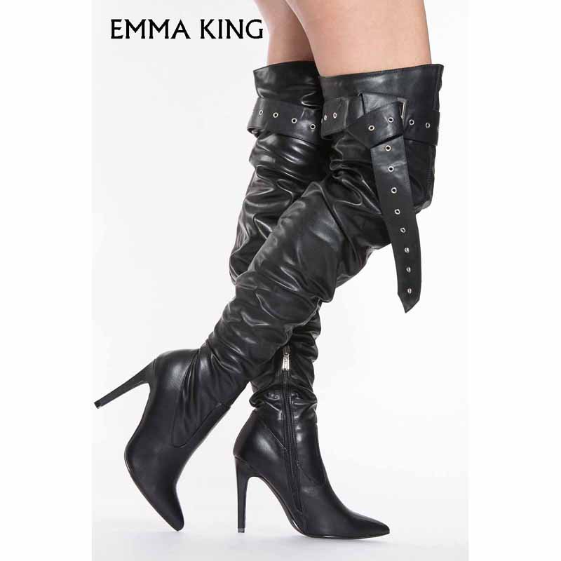 New Winter Boots Women Sexy Pointed Toe Black Faux Leather Thigh High Over The Knee Solid Zipper Long Boots botines mujer 2018