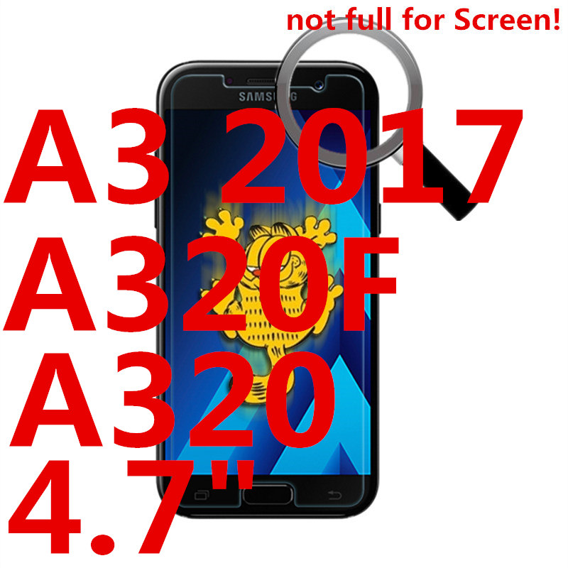 Tempered Glass For SAMSUNG Galaxy A3 2017 A320F A320 phone Screen protective 4 7 inch smartphone toughened case 9H on crystals in Phone Screen Protectors from Cellphones Telecommunications