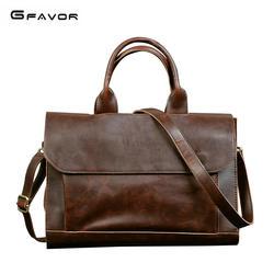 G-FAVOR Ретро для мужчин's портфели Crazy Horse кожаная сумка для ноутбука бизнес мужчин курьерские сумки кожаная сумка для ноутбука