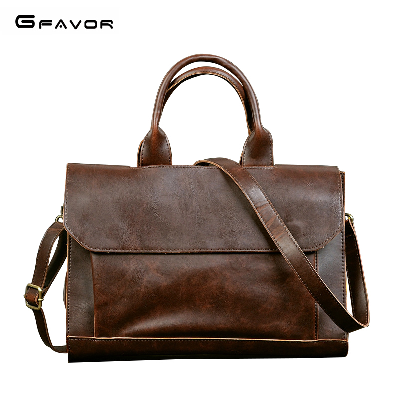 G-FAVOR Retro Men's Briefcase Crazy Horse Leather Laptop Handbag Business Men Messenger Bags Leather Laptop Bag