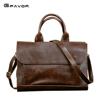 G FAVOR Retro Men's Briefcase Crazy Horse Leather Laptop Handbag Business Men Messenger Bags Leather Laptop Bag