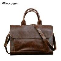 G FAVOR Retro Men S Briefcase Crazy Horse Leather Laptop Handbag Business Men Messenger Bags