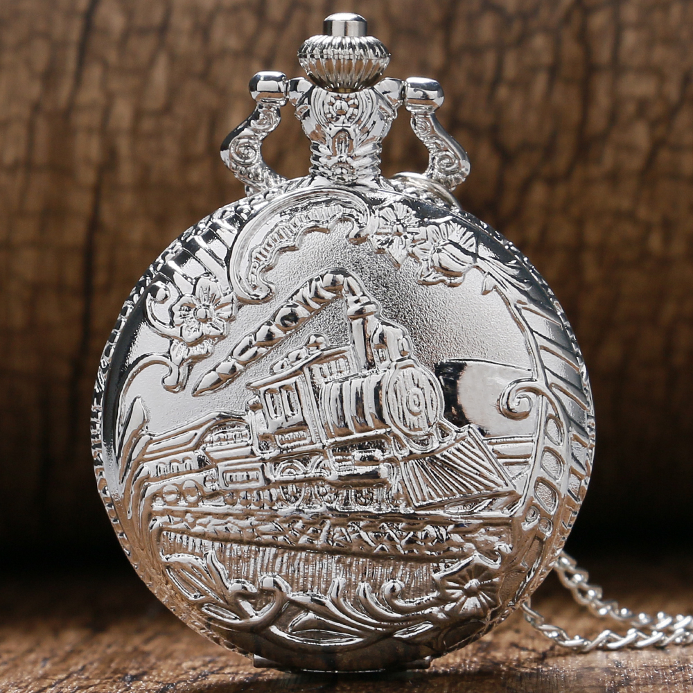 2019 New Fashion Vintage Silver Locomotive Steampunk Pocket Watch Chain Silver Necklace Pendant Gift Drop Shipping