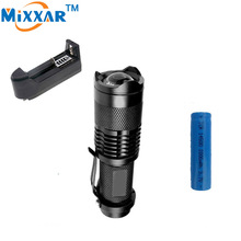 RUZK50 CREE 2000LM Mini LED Flashlight Adjustable LED Torch Focus Zoom Lamp+14500 2000mAh Battery+Battery Rechargeable Charger