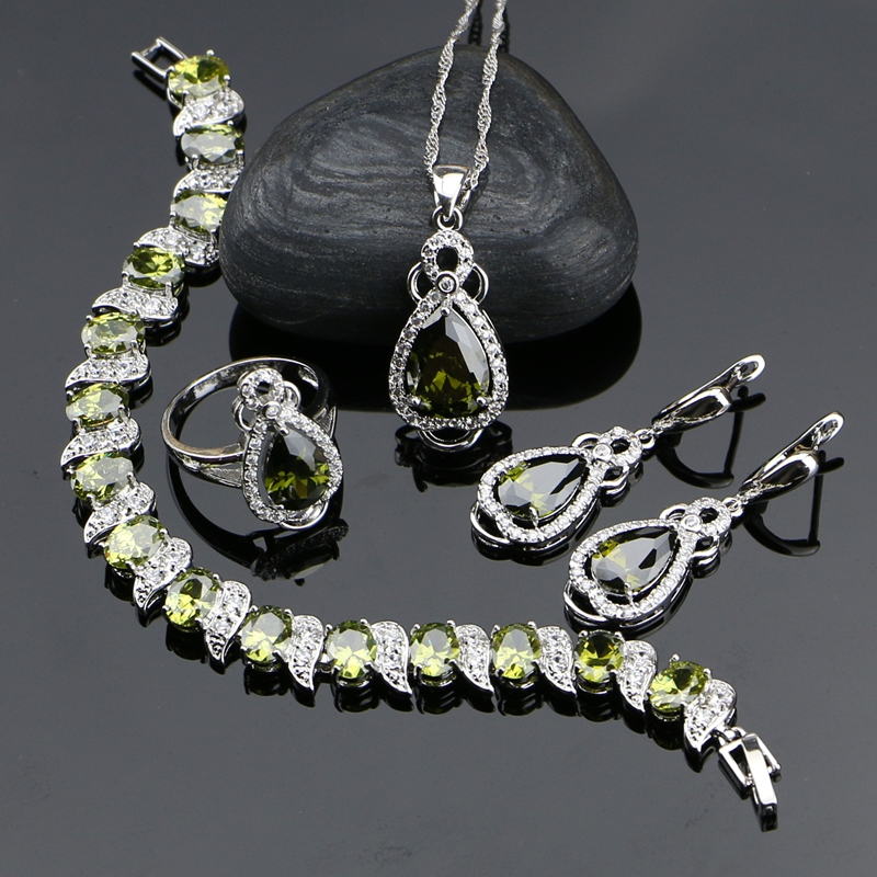 925 Sterling Silver Jewelry Olive Green Cubic Zirconia  Jewelry Sets For Women Earrings/Pendant/Necklace/Ring/Bracelet