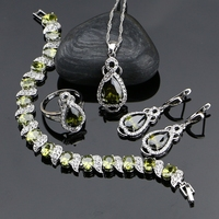925 Sterling Silver Jewelery Olive Green Cubic Zirconia Jewelry Sets For Women Earrings Pendant Necklace
