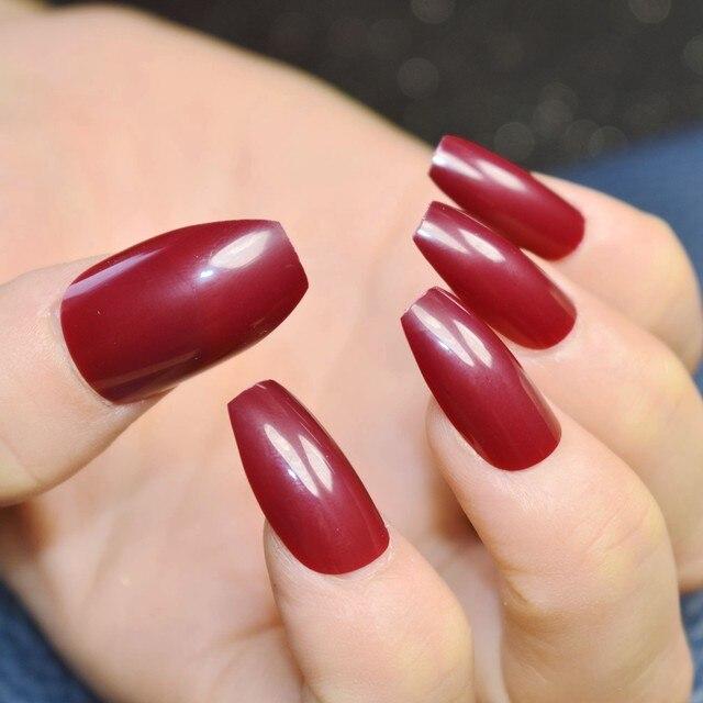 Tienda Online Plana uñas stiletto color rojo vino ataúd arte diseño ...