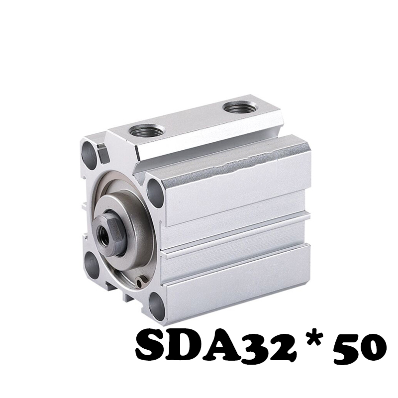 Free shippingSDA32-50 Standard cylinder thin cylinder SDA Type 32mm Bore 50mm Stroke Compact Thin Pneumatic Cylinder bore size 32mm 5mm stroke sda pneumatic cylinder double action with magnet sda 32 10