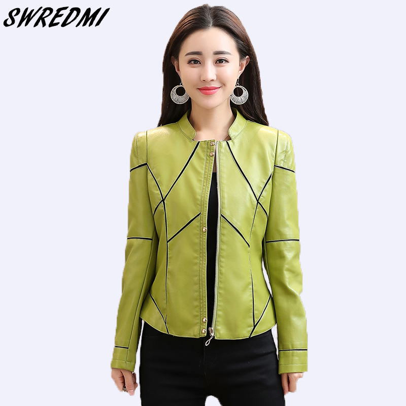 SWREDMI 2019 Spring Spliced Green Women   Leather   Coat Slim Casual Short Female Jackets   Leather   Plus Size S-3XL Basic Clothes