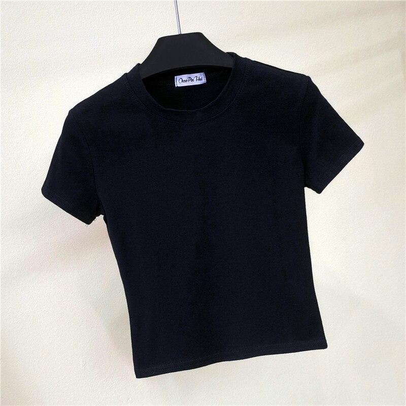 Crop koszulka top kobieta trwała bawełna O-Neck z krótkim rękawem t-shirty dla kobiet wysoka talia szczupła krótka, sportowa koszulka Blanc Femme 4