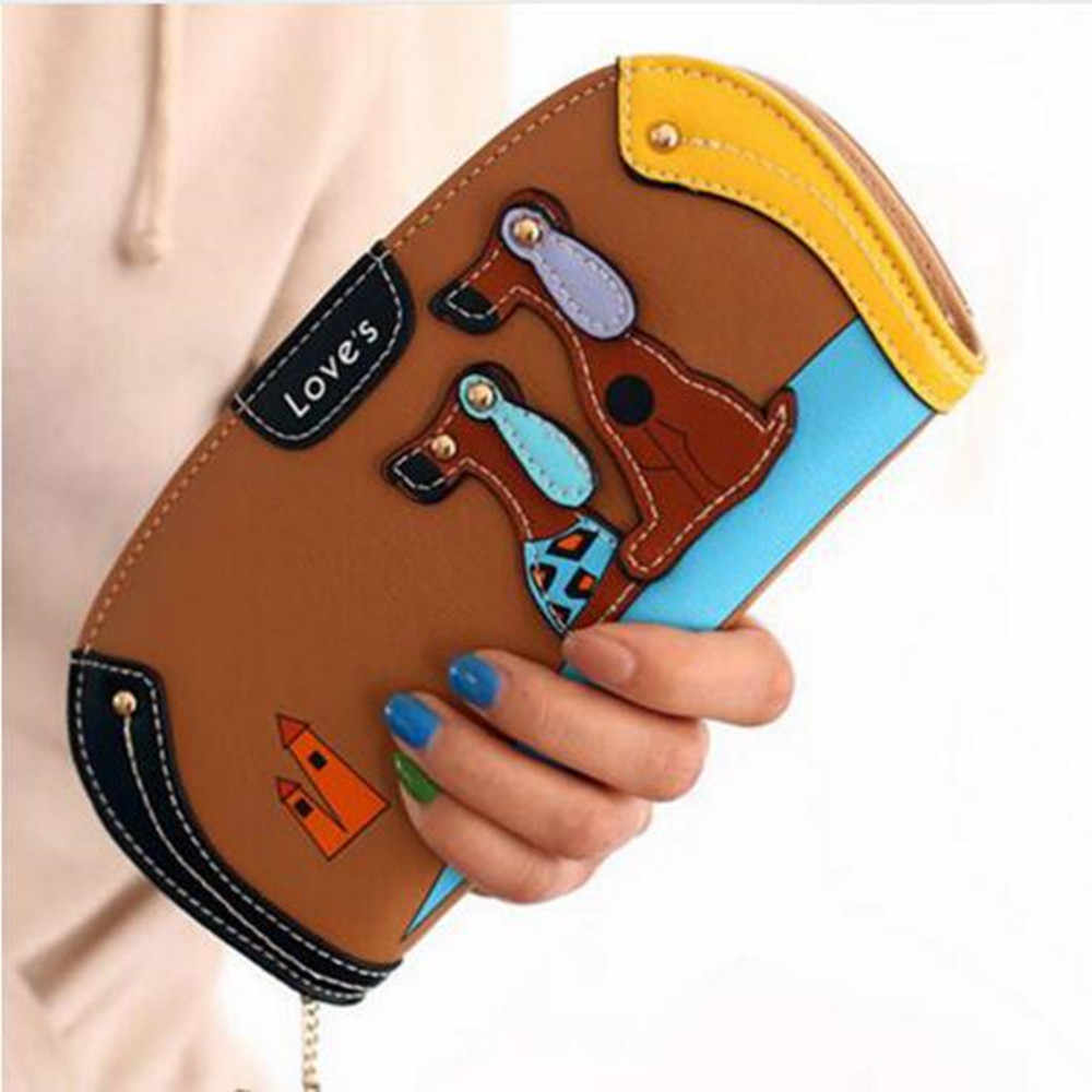 Piękny długi skórzany portfel na zamek błyskawiczny kobiety Cartoon pies torebka damska torebka Walet Vallet posiadacz karty portfel Cuzdan Portomonee