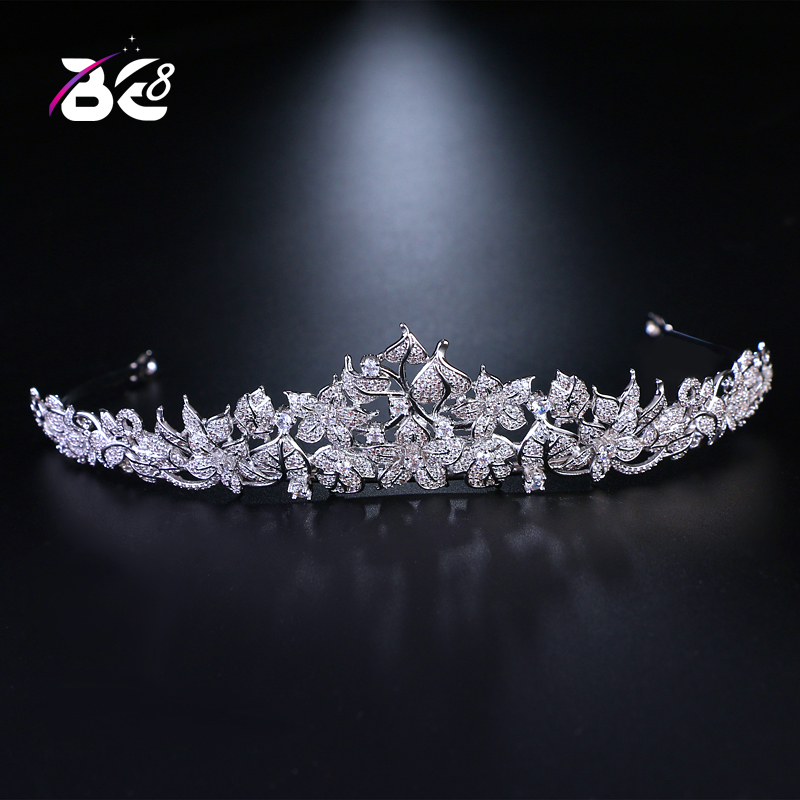 Be 8 Wedding Tiaras Bridal Hair Accessories Women AAA CZ Crown Simple Diadem Wedding Couronne De Mariage Bride Gifts H084 03 red gold bride wedding hair tiaras ancient chinese empress hat bride hair piece