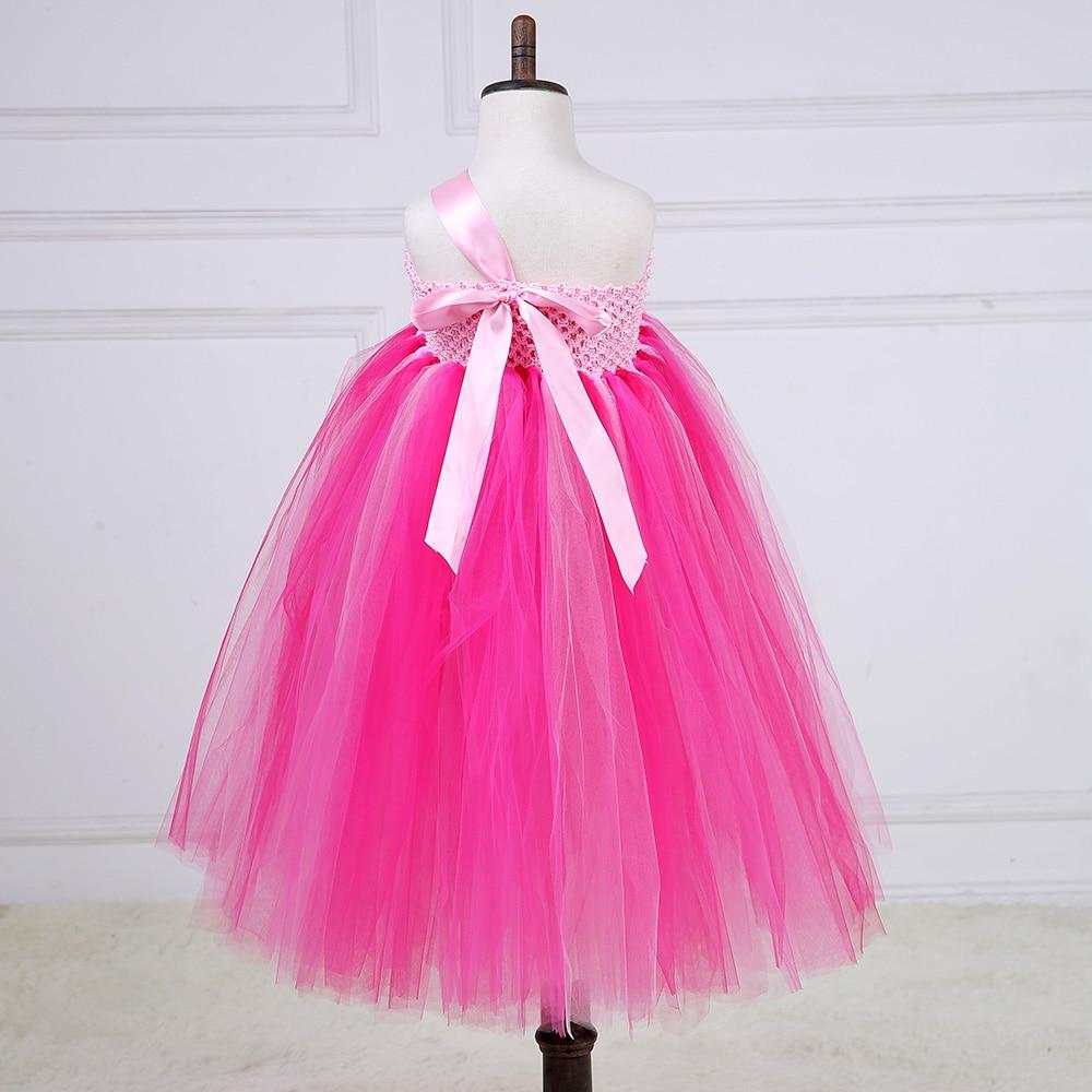 Elegant Shabby Flower Girl Wedding Tutu Dress Hot Pink One Shoulder ...