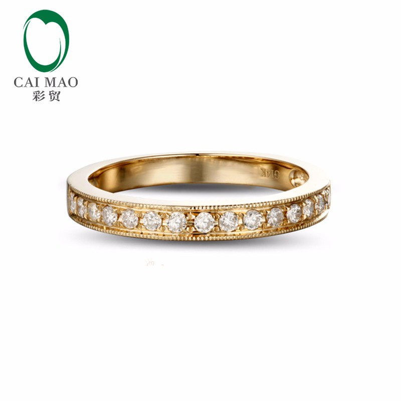 0-25ct-Solid-14k-Yellow-Gold-Natural-Diamond-Engagement-Wedding-Band-Ring-1