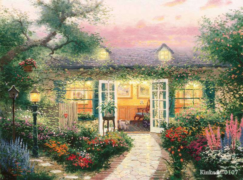 Thomas kinkade prints original oil painting studio in the - Home interiors thomas kinkade prints ...