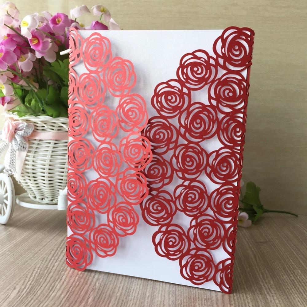 50pcs/lot 2017 New Chinese Red &Pink Laser Cut Big Rose Wedding ...