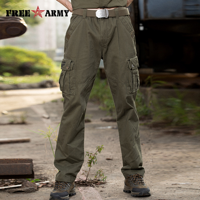 a0c9bb99 Military Male Pants Full Length Cotton Pockets Thick Straight Embroidered  Logo Men's Clothing Free Shipping MK