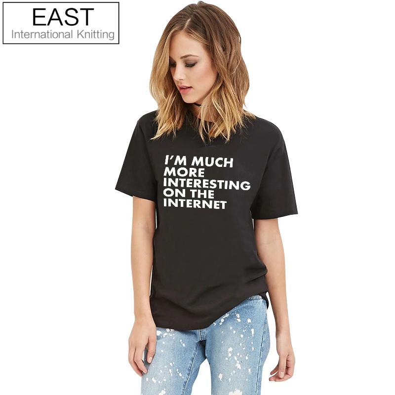 EAST KNITTING H860 2017 Summer New Black T Shirt Women Short Sleeve Tops White Letters Print Street Hippie Punk Womens Tshirt