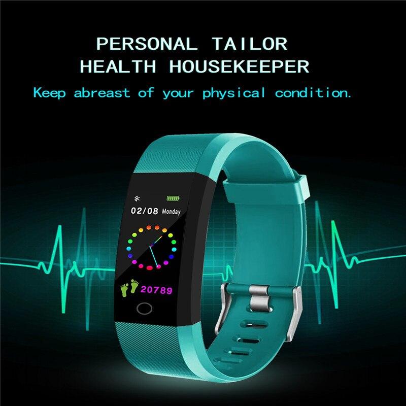 ID115 PLUS Color de pantalla inteligente pulsera deportes del podómetro reloj de Fitness corriendo a rastreador de podómetro inteligente banda
