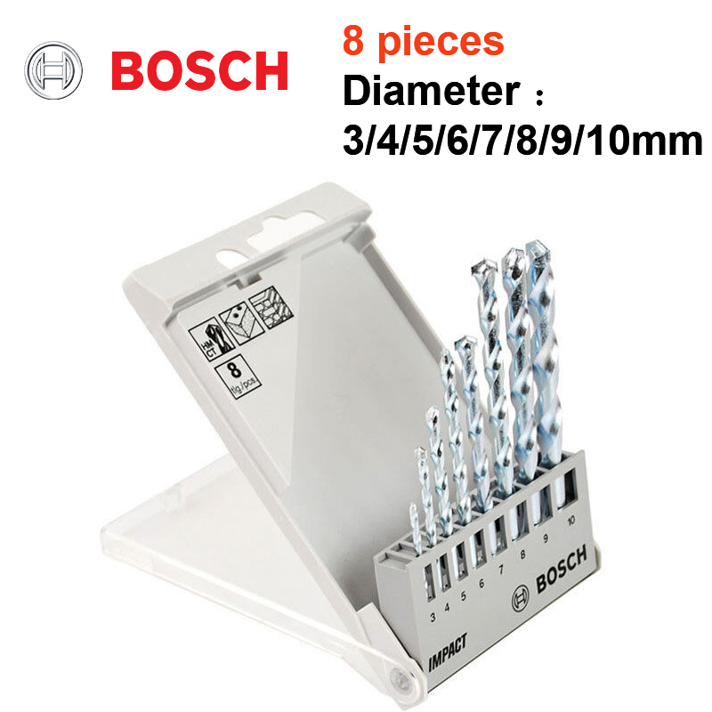 BOSCH Impact Drill Bit Set Impact Drill Tungsten Carbide Masonry Drilling Bit Cement Diamond Work Drill Set 3/5/8 Pcs